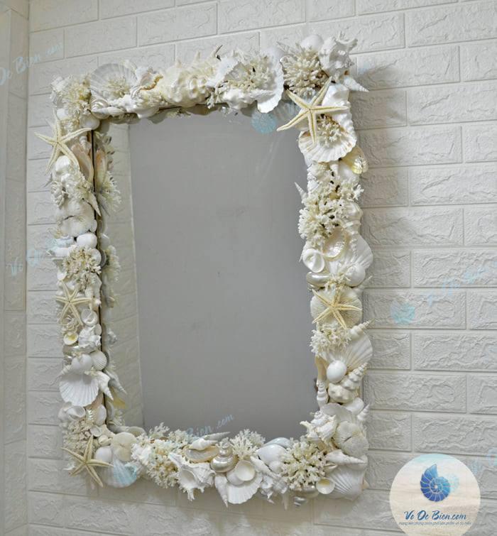 Khung Gương Vỏ Sò Ốc Biển (tone trắng) KG03